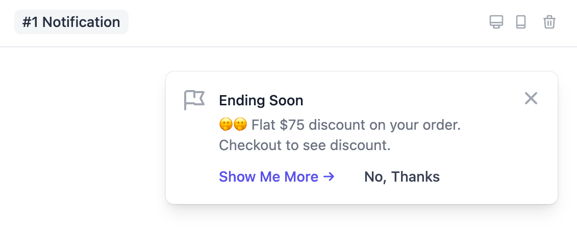 Notification about upsell discount